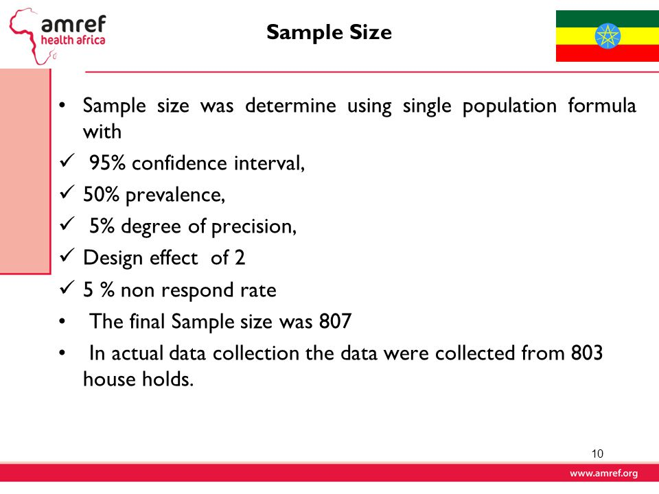 Sample Size Sample size was determine using single population formula with. 95% confidence interval,