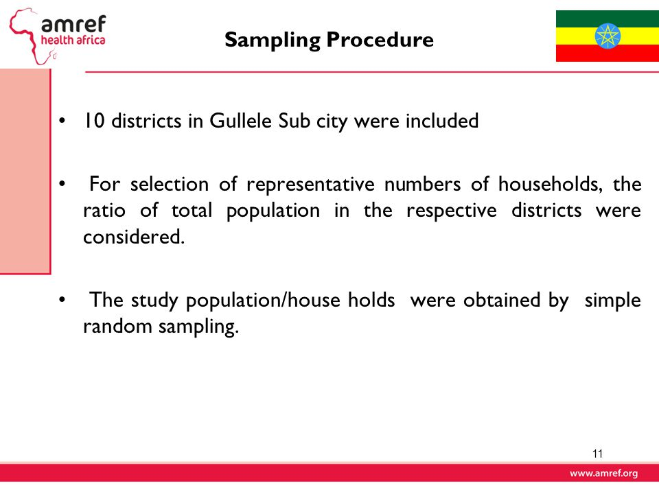 Sampling Procedure 10 districts in Gullele Sub city were included.