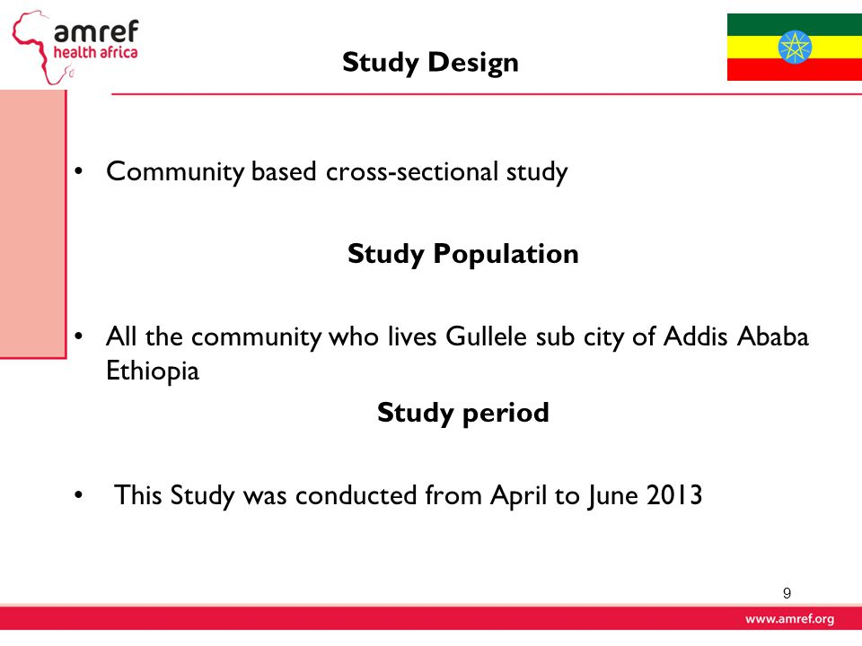 Study Design Community based cross-sectional study. Study Population. All the community who lives Gullele sub city of Addis Ababa Ethiopia.