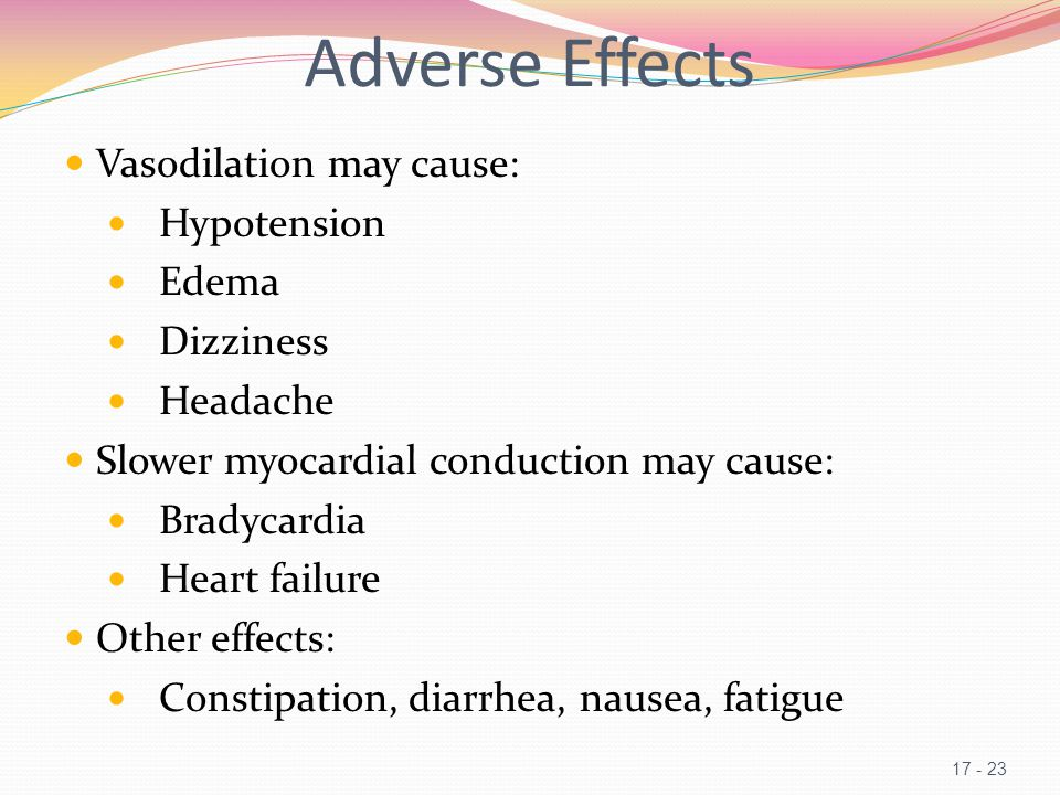 Adverse Effects Vasodilation may cause: Hypotension Edema Dizziness