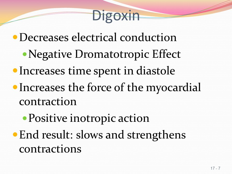 Digoxin Decreases electrical conduction Negative Dromatotropic Effect