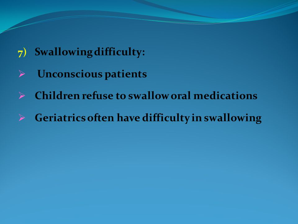 Swallowing difficulty: