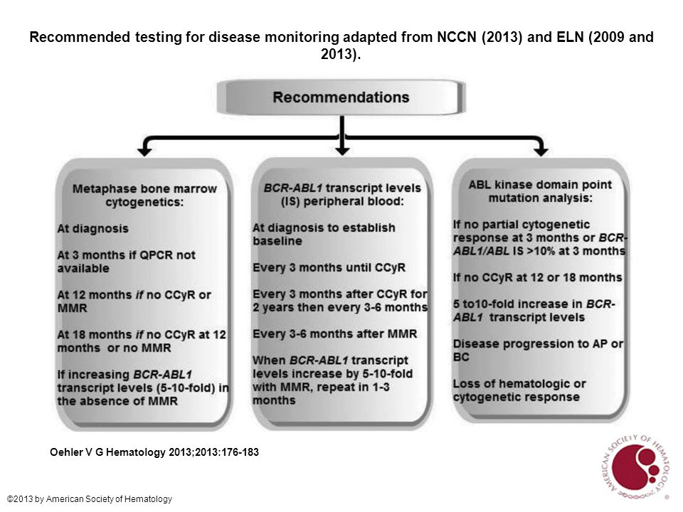 Recommended testing for disease monitoring adapted from NCCN (2013) and ELN (2009 and 2013).