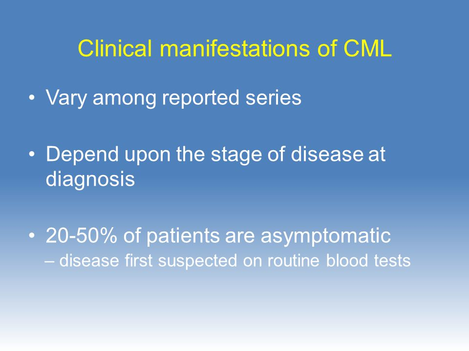 Clinical manifestations of CML