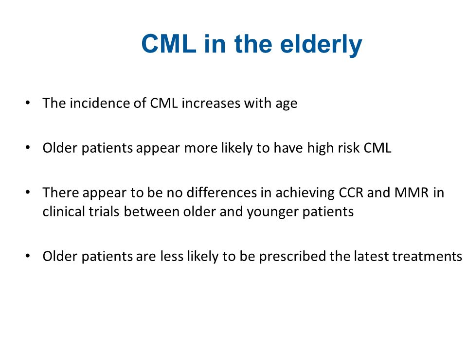 CML in the elderly The incidence of CML increases with age
