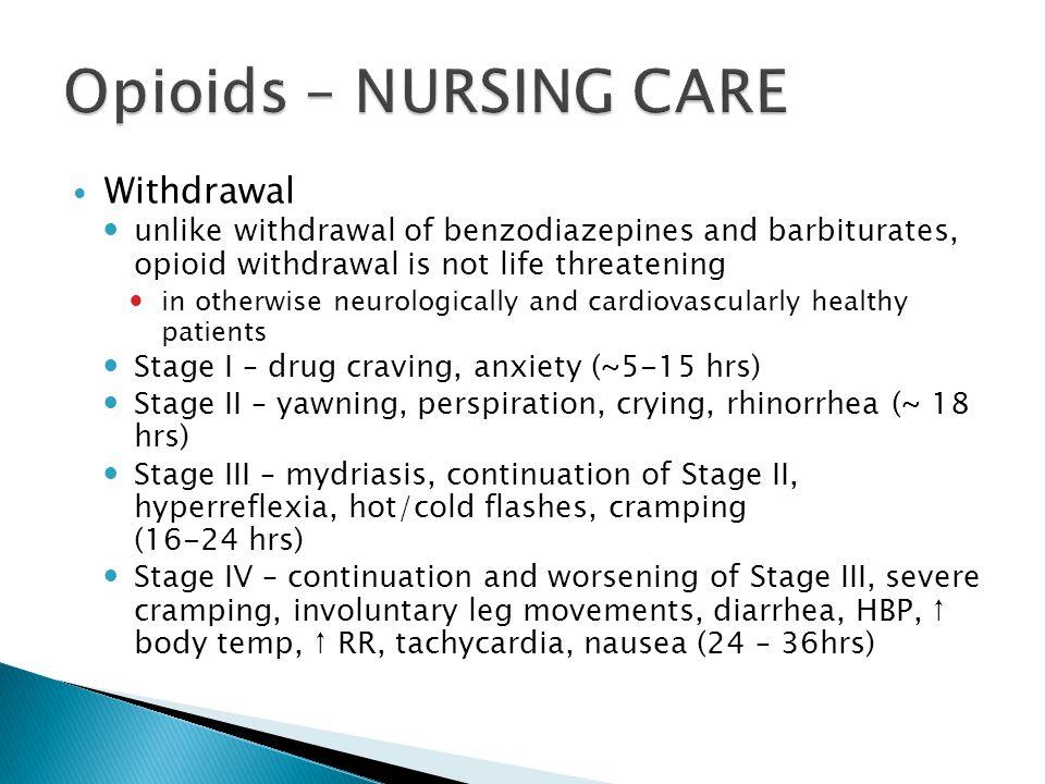 Opioids – NURSING CARE Withdrawal