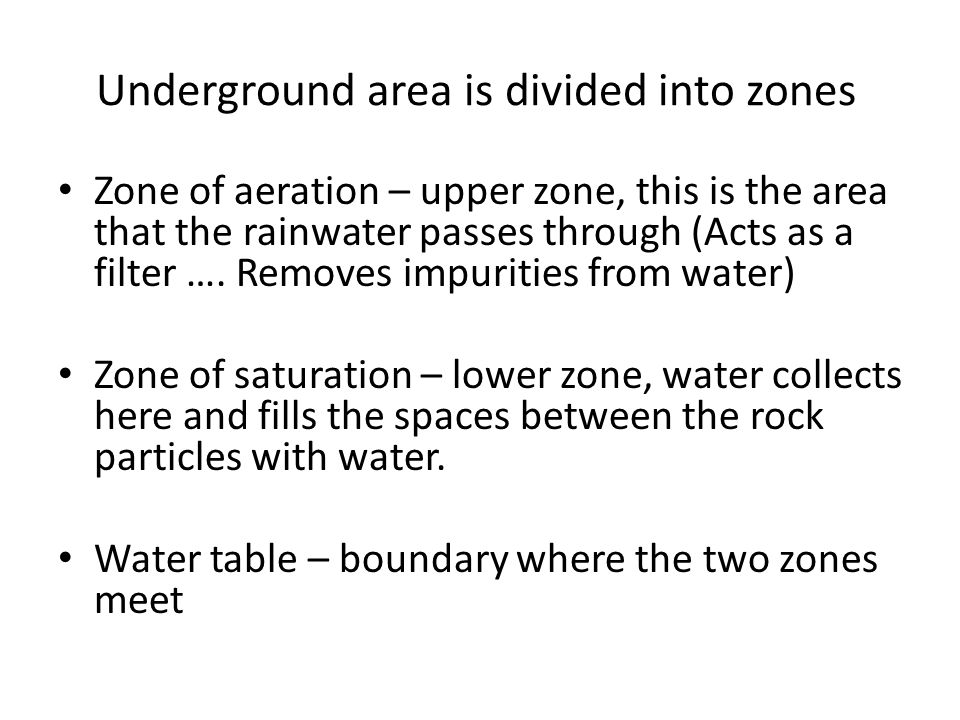 Underground area is divided into zones