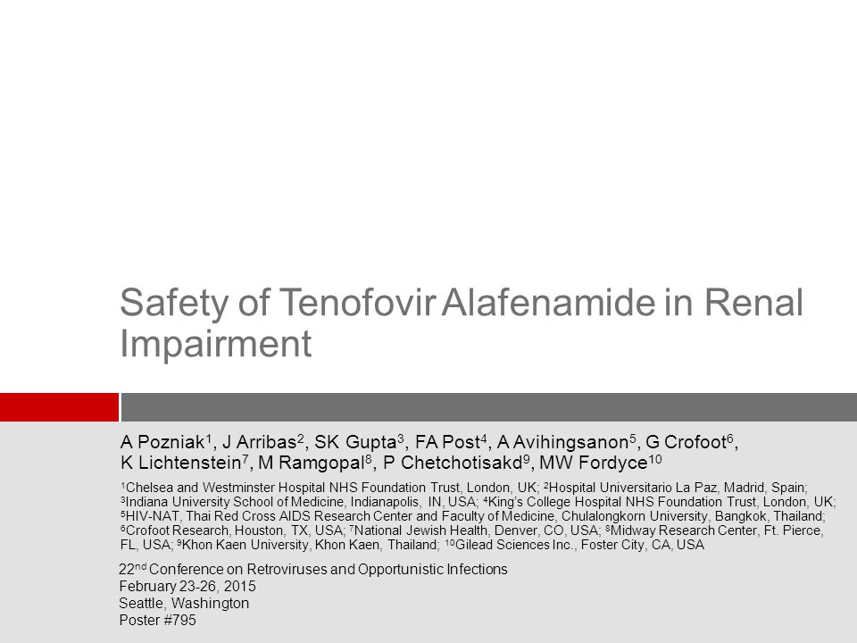 Safety of Tenofovir Alafenamide in Renal Impairment