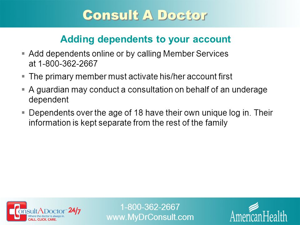 Adding dependents to your account