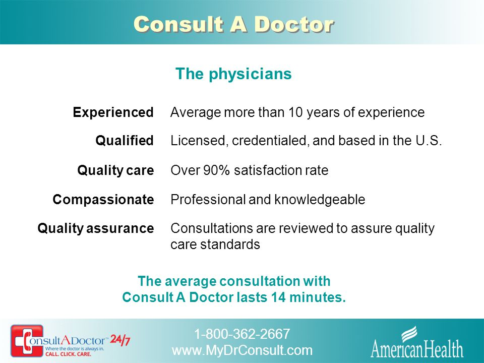 The average consultation with Consult A Doctor lasts 14 minutes.