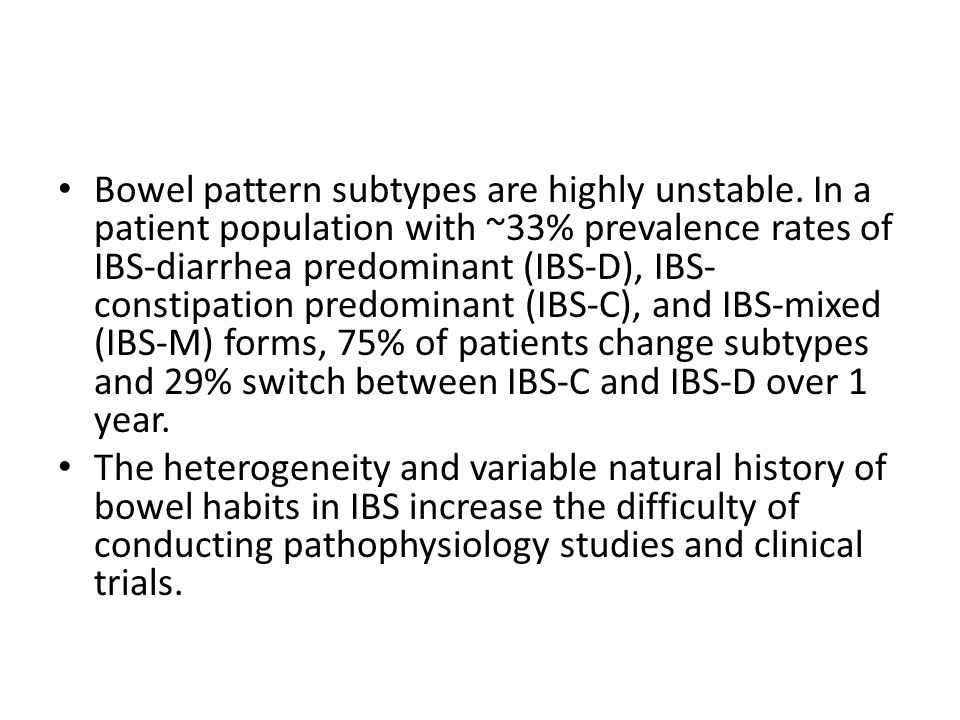Bowel pattern subtypes are highly unstable