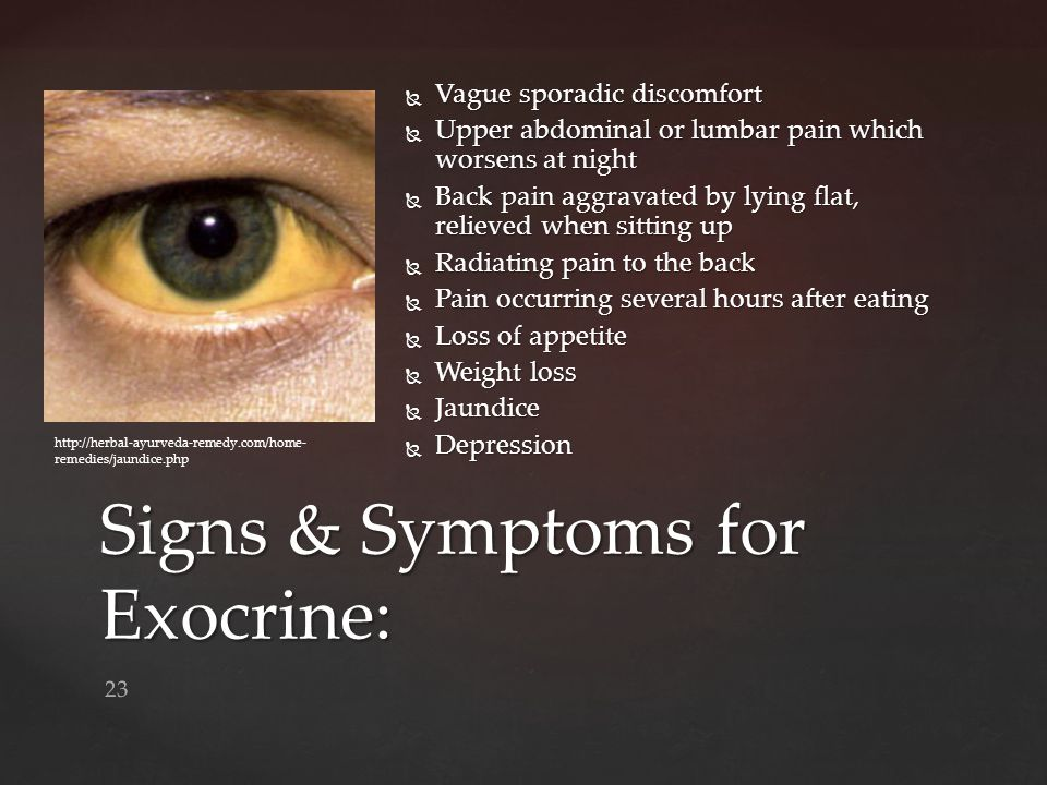 Signs & Symptoms for Exocrine: