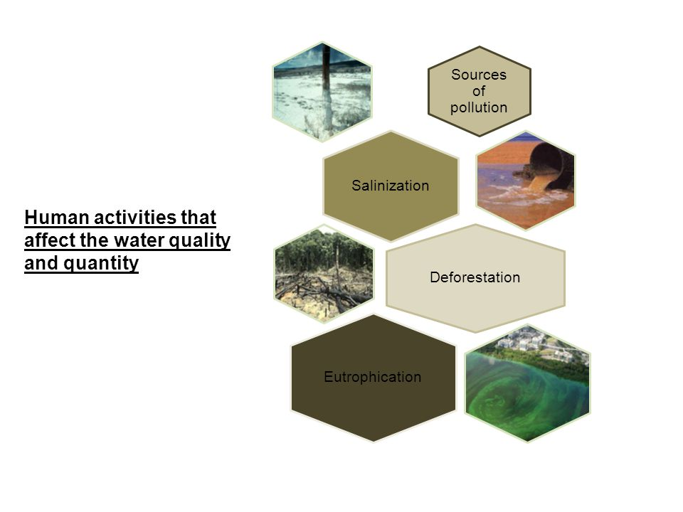 Human activities that affect the water quality and quantity