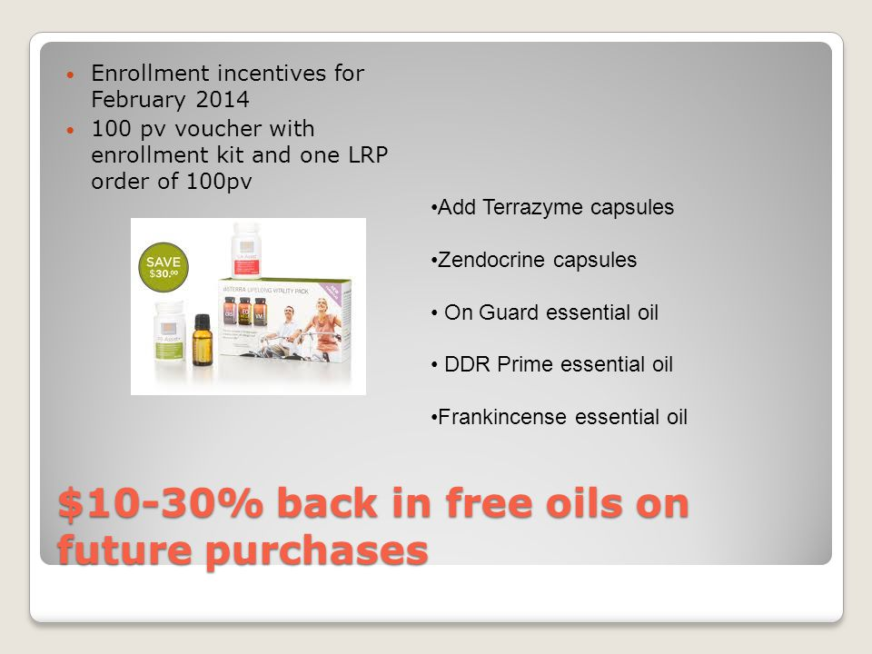 $10-30% back in free oils on future purchases