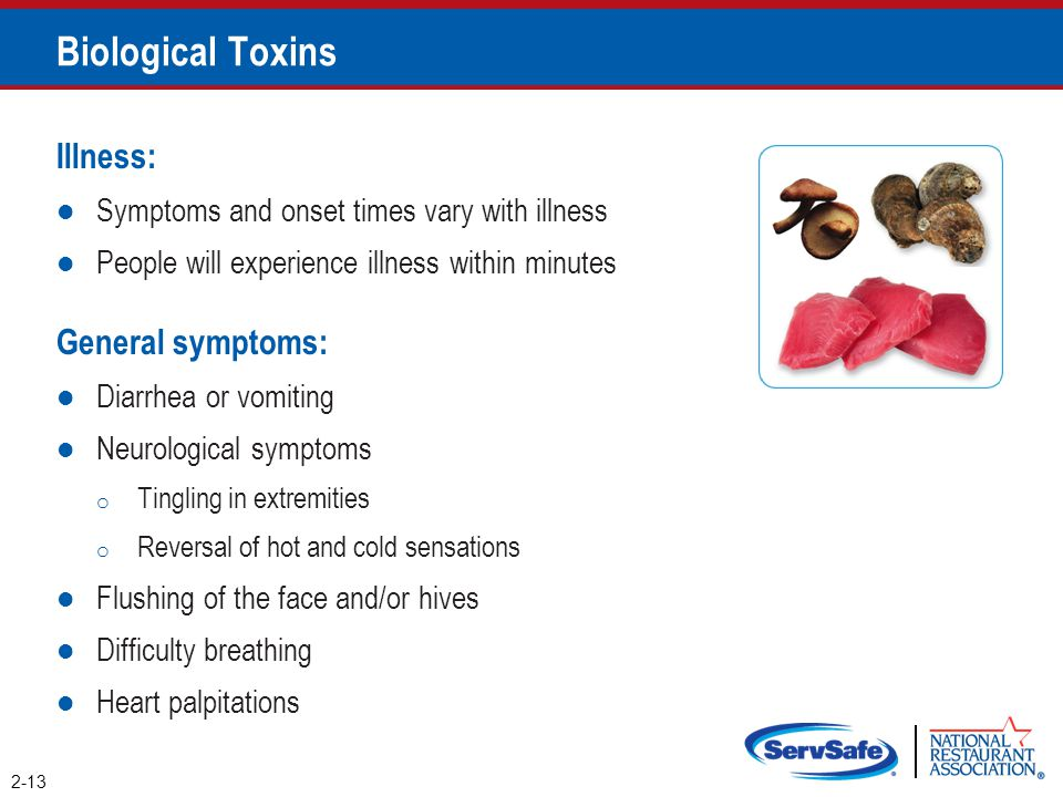 Biological Toxins Illness: General symptoms: