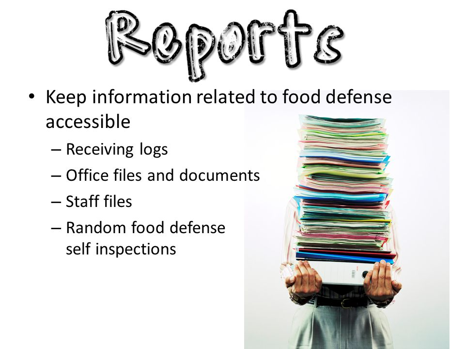 Keep information related to food defense accessible