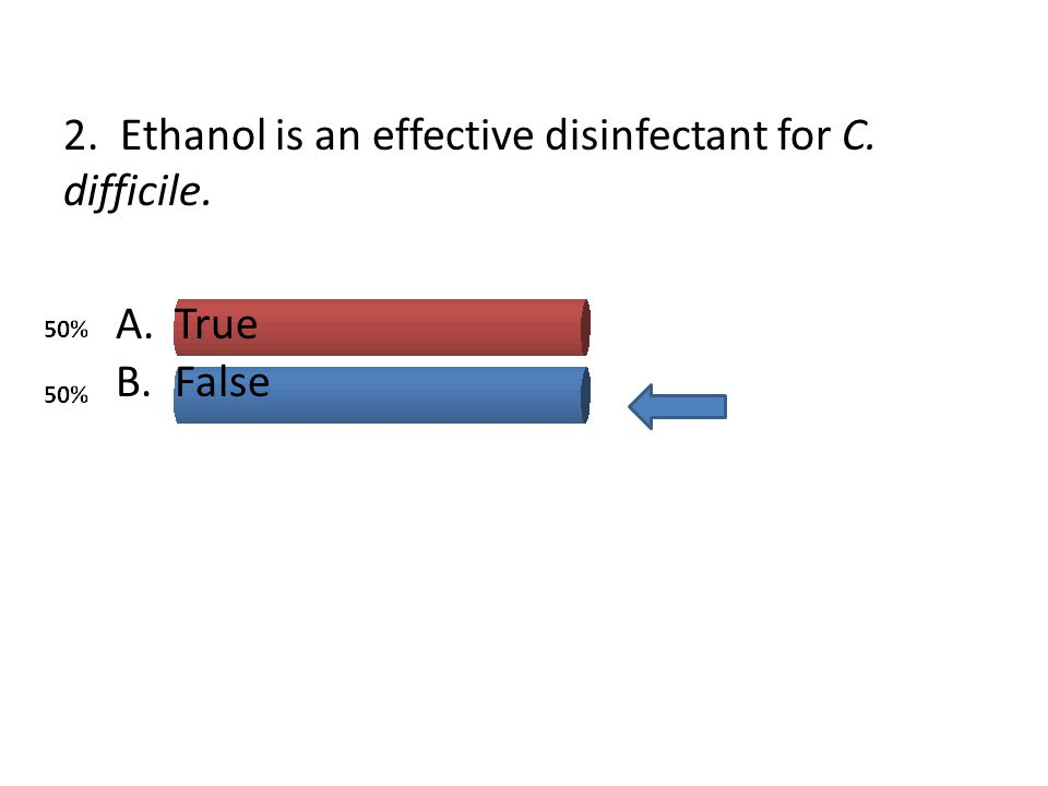 2. Ethanol is an effective disinfectant for C. difficile.