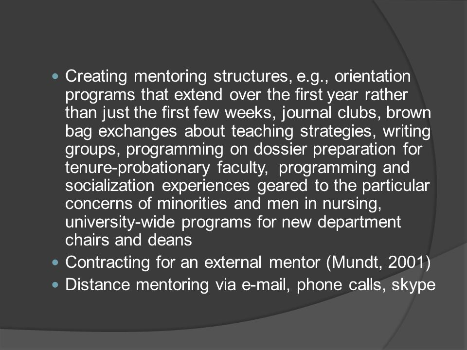 Creating mentoring structures, e. g