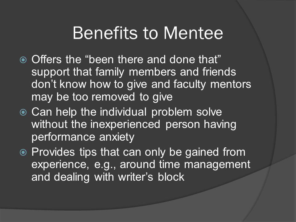Benefits to Mentee