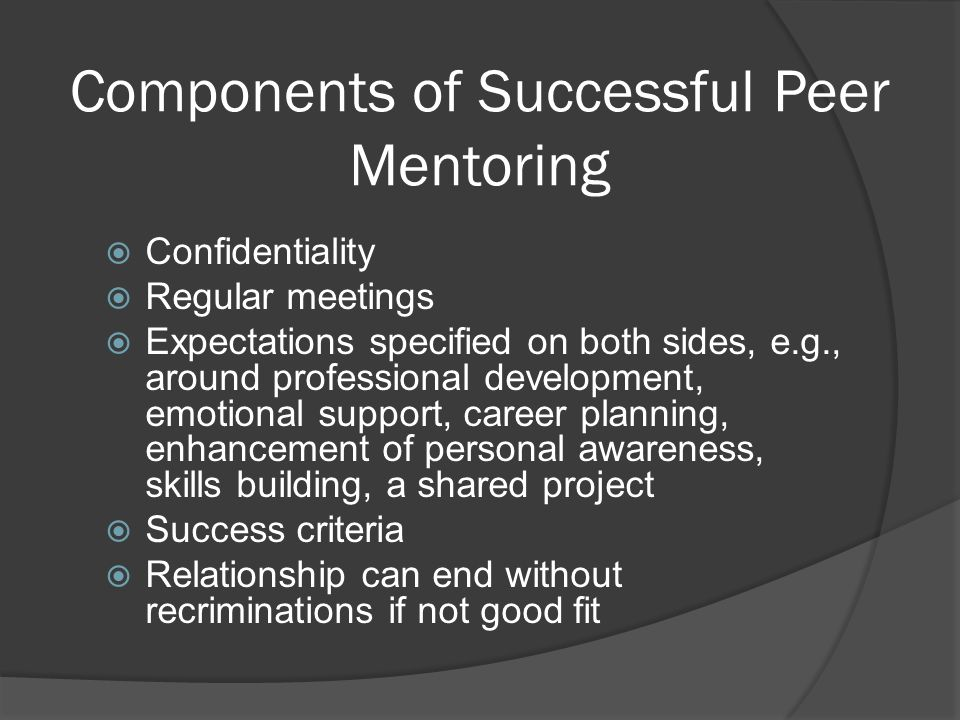 Components of Successful Peer Mentoring