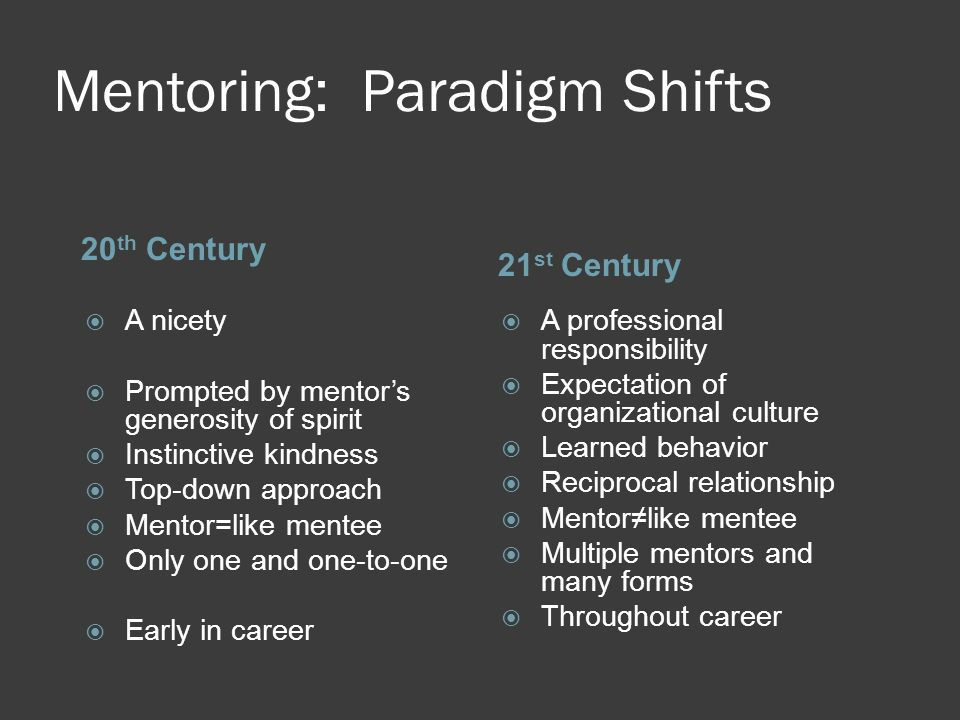Mentoring: Paradigm Shifts