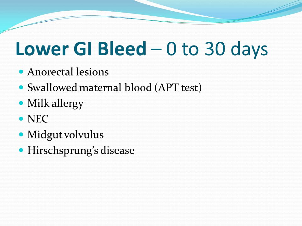 Lower GI Bleed – 0 to 30 days Anorectal lesions