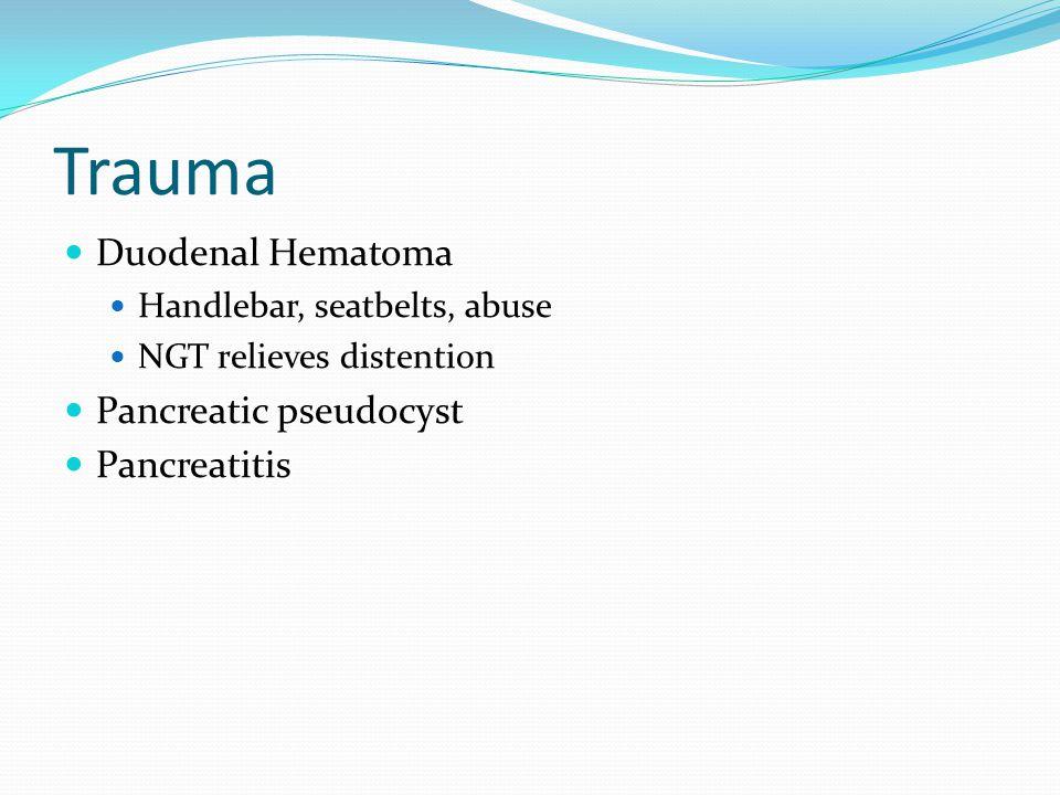 Trauma Duodenal Hematoma Pancreatic pseudocyst Pancreatitis