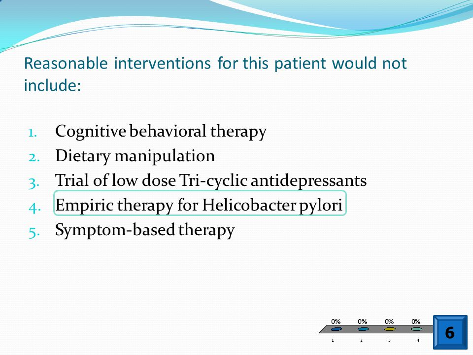 Reasonable interventions for this patient would not include: