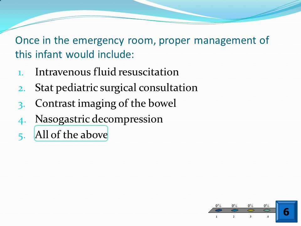 Once in the emergency room, proper management of this infant would include: