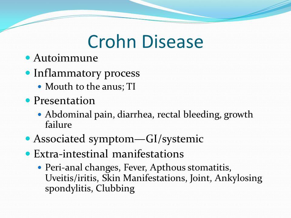 Crohn Disease Autoimmune Inflammatory process Presentation