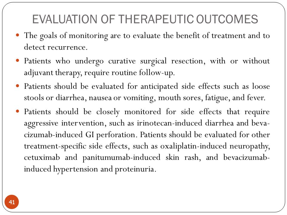 EVALUATION OF THERAPEUTIC OUTCOMES