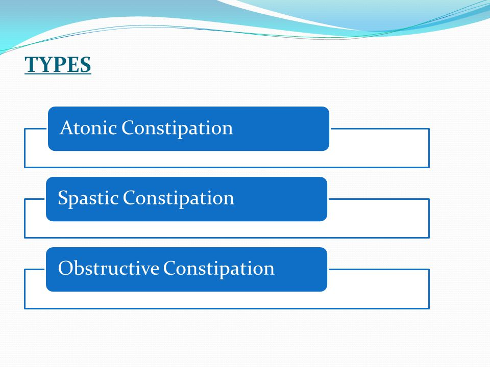 TYPES Atonic Constipation Spastic Constipation