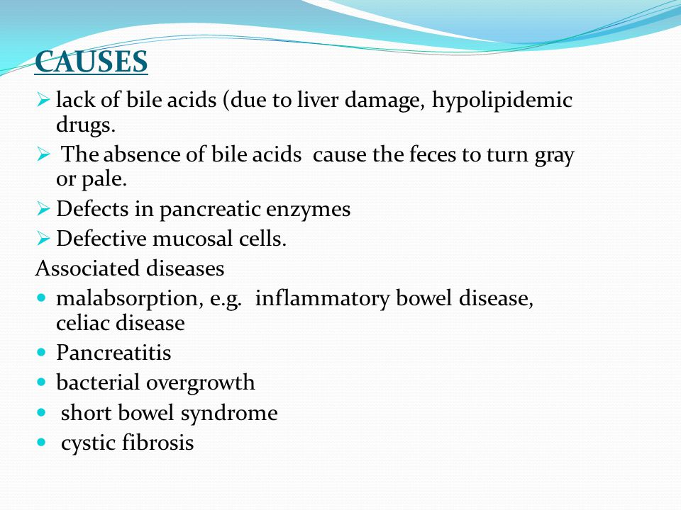CAUSES lack of bile acids (due to liver damage, hypolipidemic drugs.