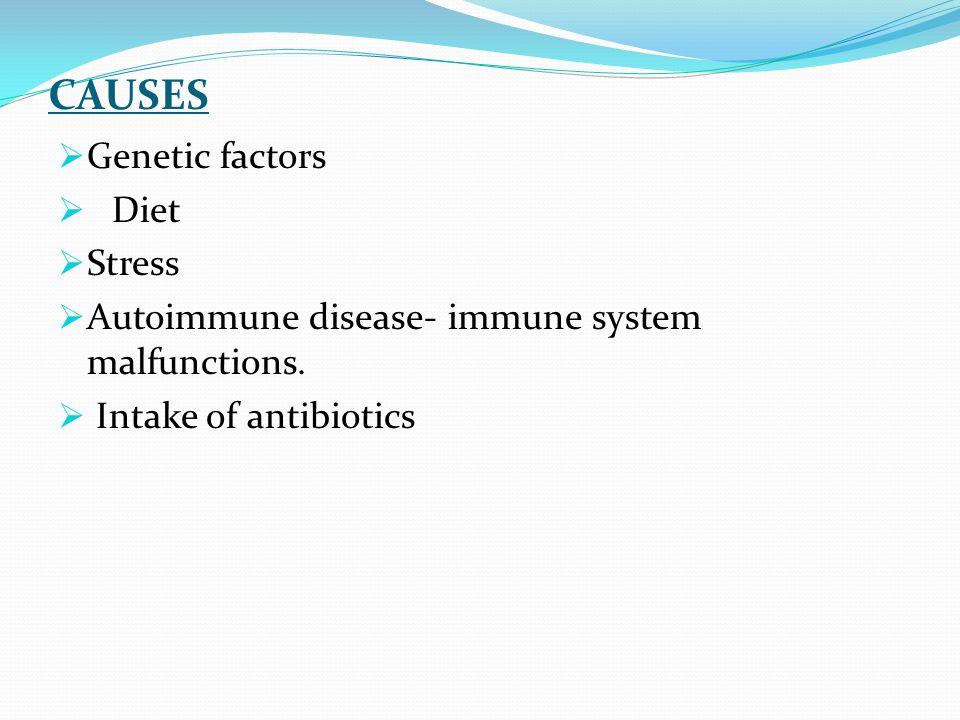 CAUSES Genetic factors Diet Stress