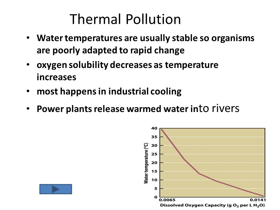 Thermal Pollution Water temperatures are usually stable so organisms are poorly adapted to rapid change.