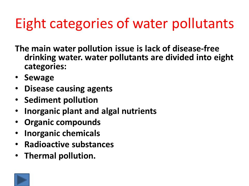Eight categories of water pollutants