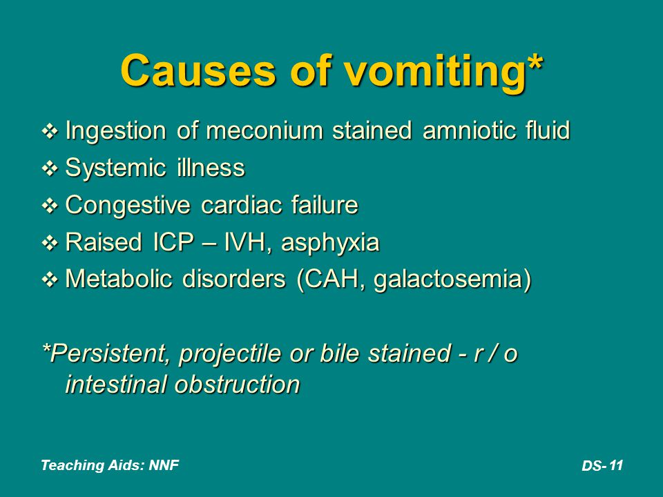 Causes of vomiting* Ingestion of meconium stained amniotic fluid