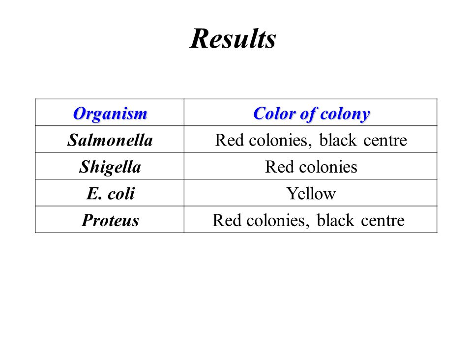 Red colonies, black centre