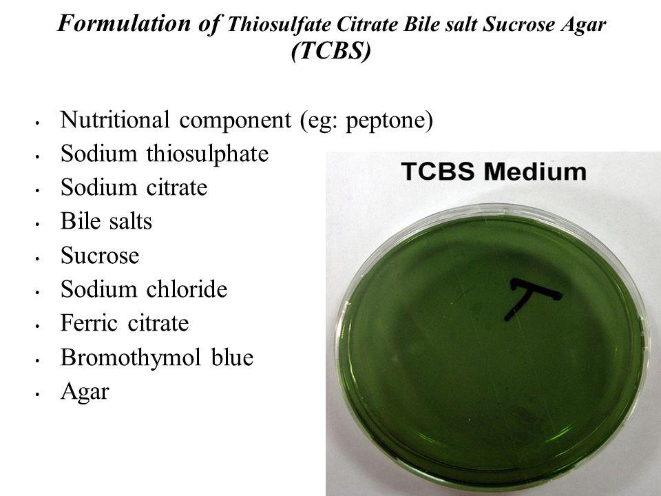 Formulation of Thiosulfate Citrate Bile salt Sucrose Agar (TCBS)