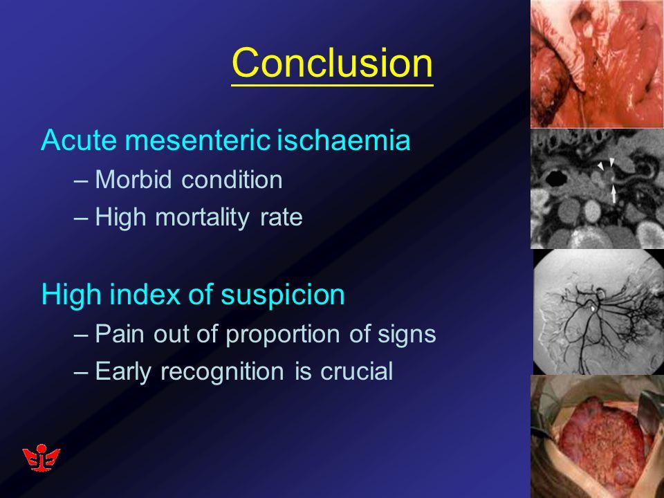 Conclusion Acute mesenteric ischaemia High index of suspicion