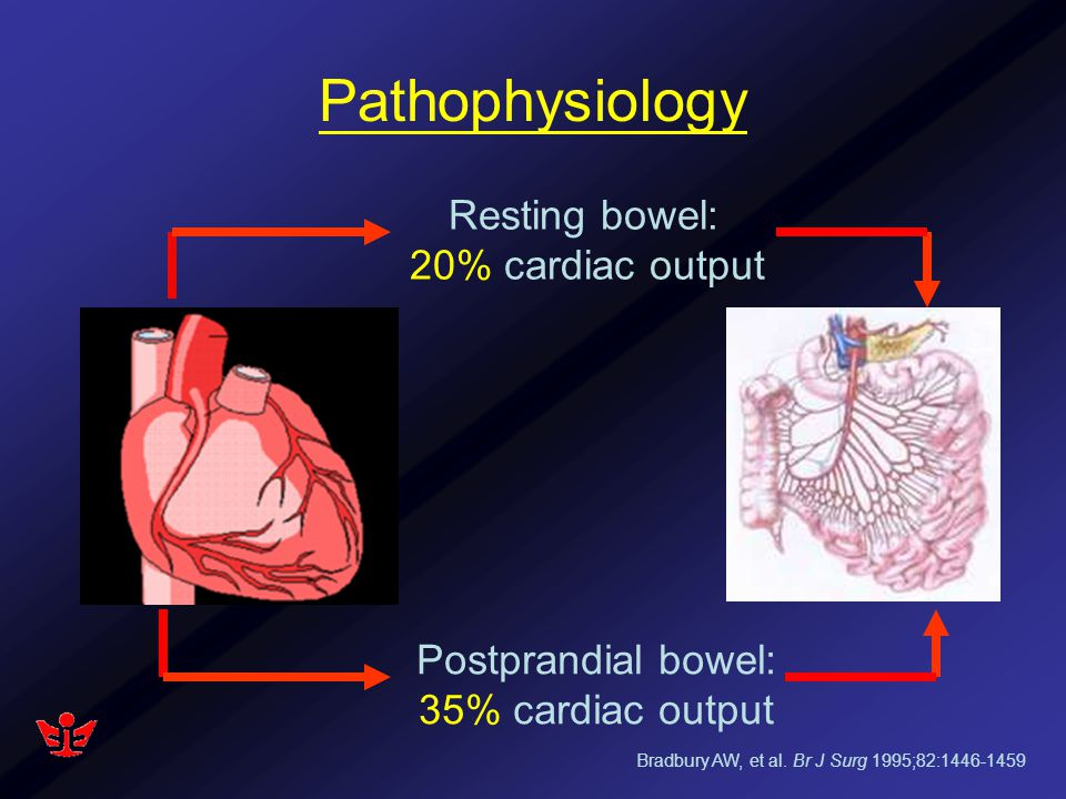 Pathophysiology Resting bowel: 20% cardiac output Postprandial bowel: