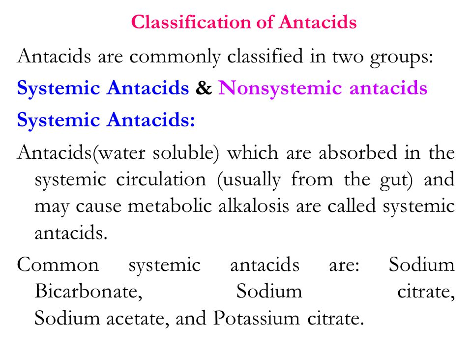 Classification of Antacids