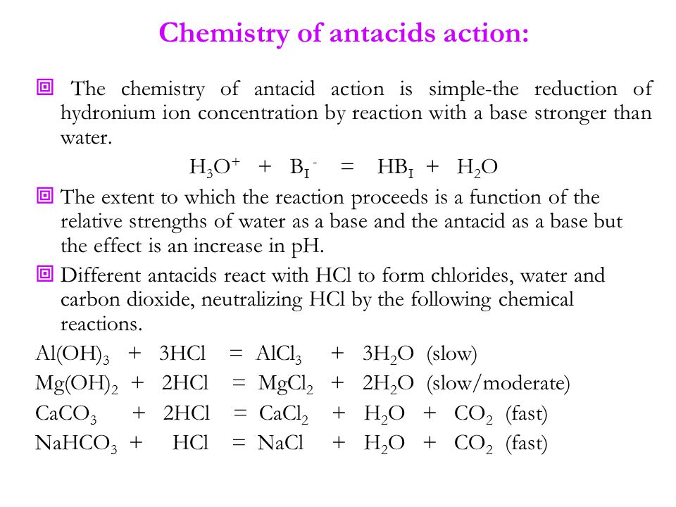 Chemistry of antacids action: