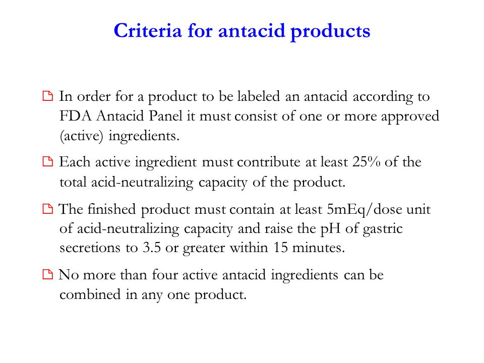 Criteria for antacid products