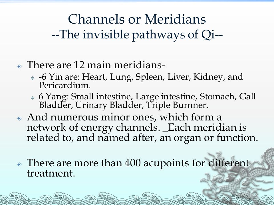 Channels or Meridians --The invisible pathways of Qi--