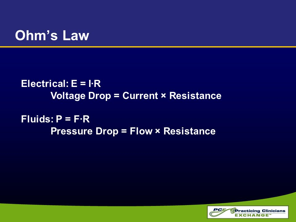 Ohm's Law Electrical: E = I·R Voltage Drop = Current × Resistance