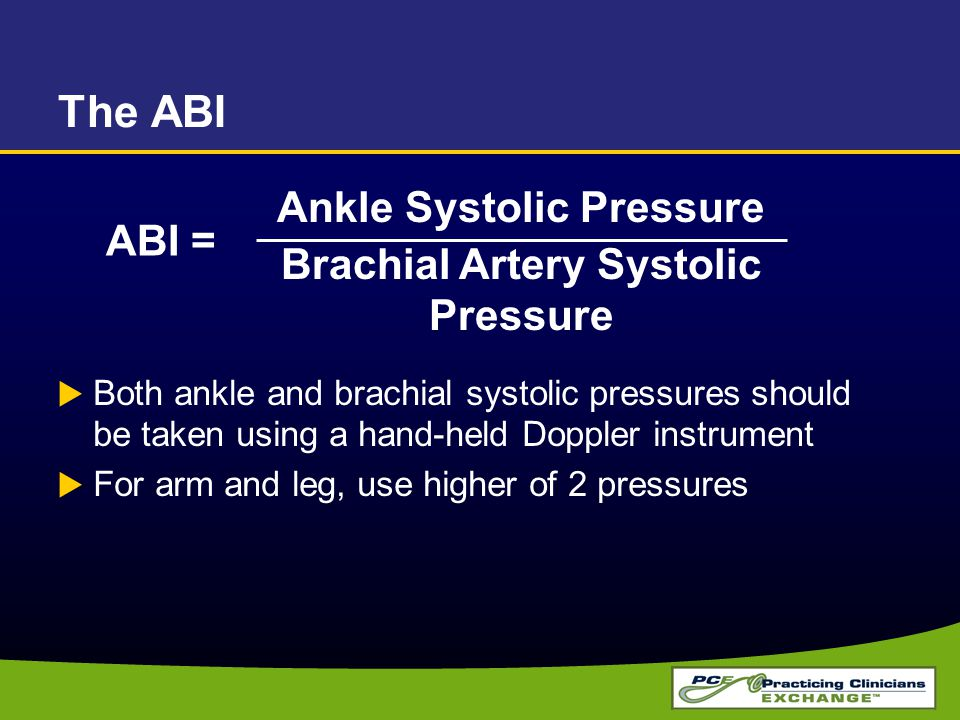 Ankle Systolic Pressure Brachial Artery Systolic Pressure