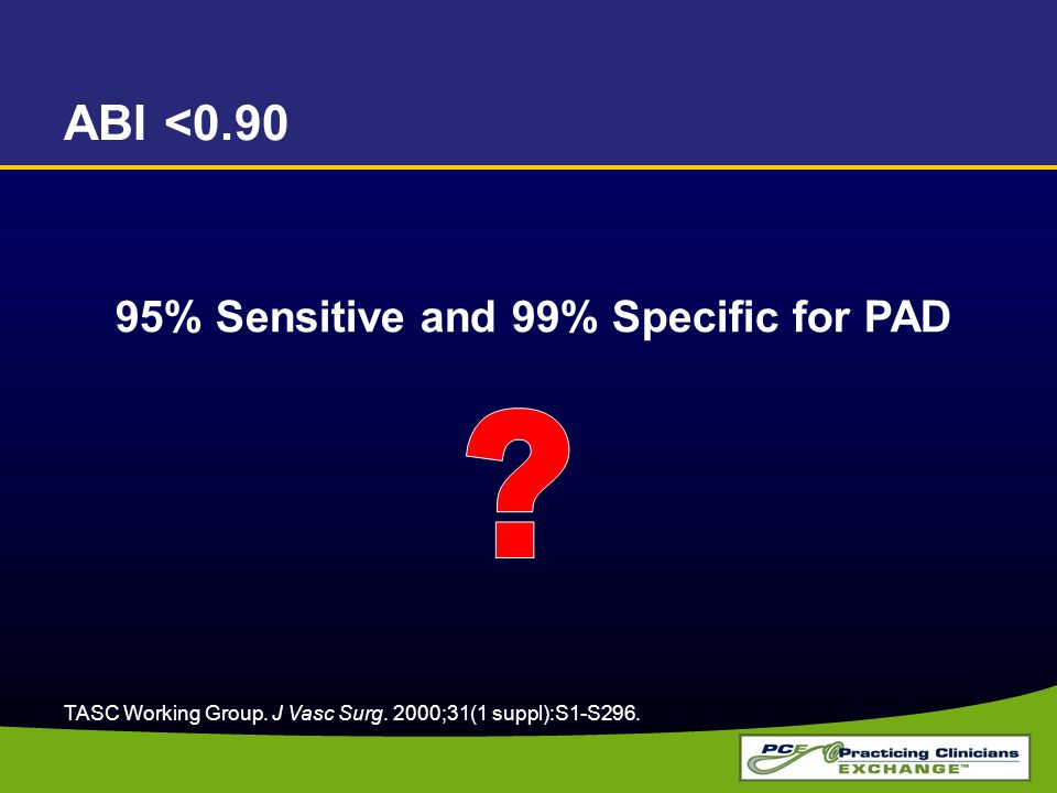ABI <0.90 95% Sensitive and 99% Specific for PAD