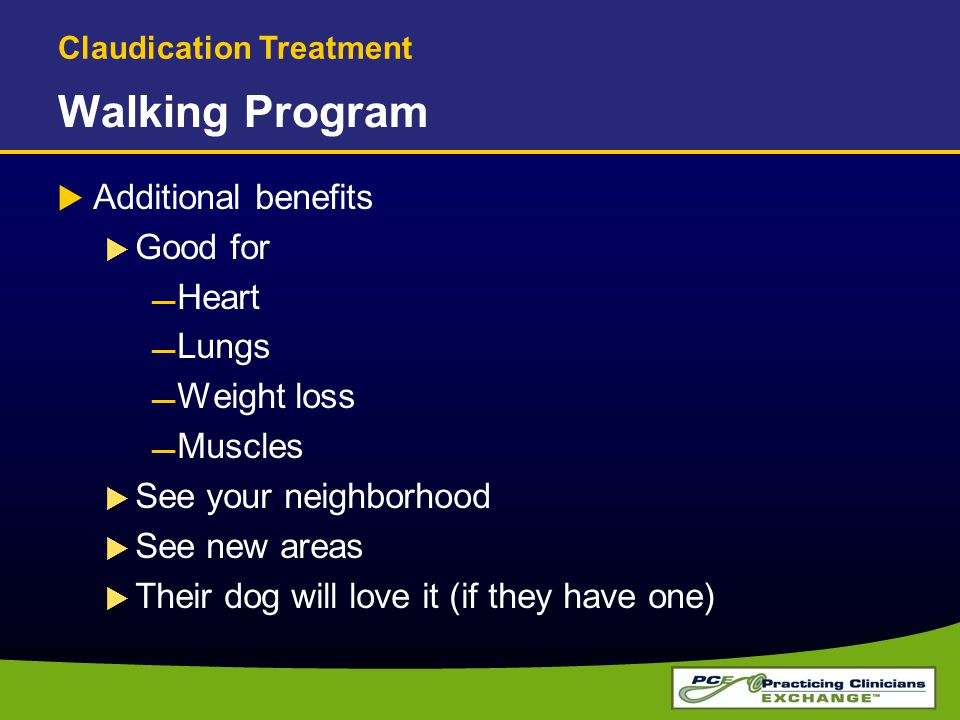 Walking Program Additional benefits Good for Heart Lungs Weight loss