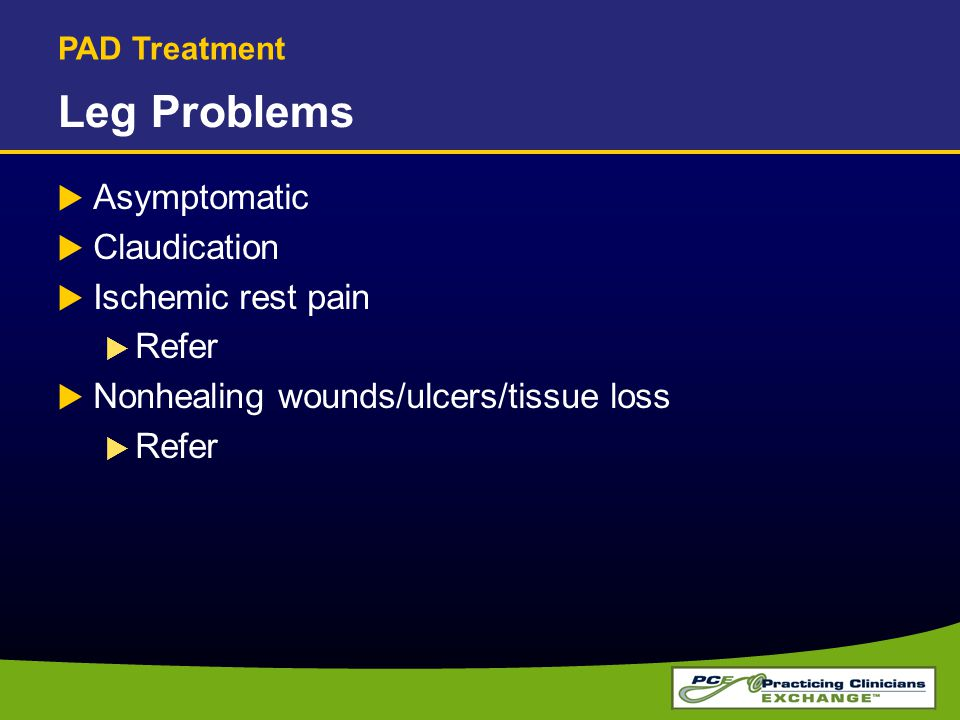 Leg Problems Asymptomatic Claudication Ischemic rest pain Refer